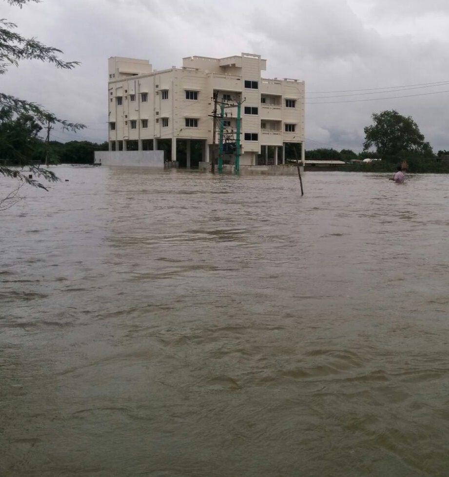 CTTS building surrounded by flood water